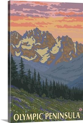 Olympic Peninsula - Spring Flowers: Retro Travel Poster