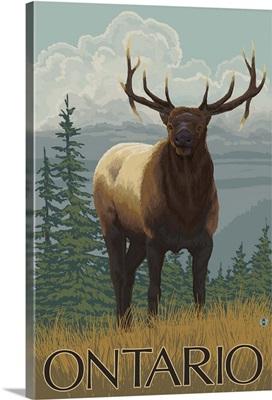 Ontario, Canada - Elk Scene: Retro Travel Poster