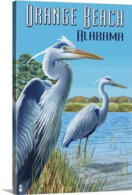Orange Beach, Alabama - Blue Heron: Retro Travel Poster