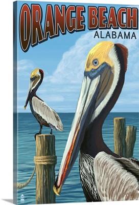 Orange Beach, Alabama - Brown Pelican: Retro Travel Poster