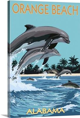 Orange Beach, Alabama - Dolphins Jumping: Retro Travel Poster