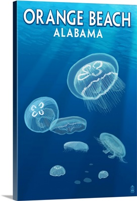 Orange Beach, Alabama - Jellyfish Scene: Retro Travel Poster