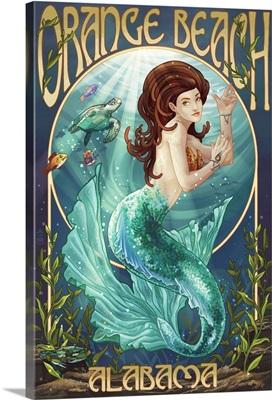 Orange Beach, Alabama - Mermaid: Retro Travel Poster