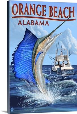 Orange Beach, Alabama - Sailfish Scene: Retro Travel Poster