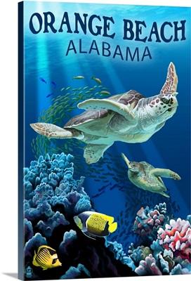 Orange Beach, Alabama - Sea Turtles Swimming: Retro Travel Poster