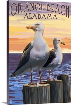 Orange Beach, Alabama - Seagulls: Retro Travel Poster