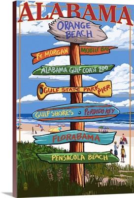 Orange Beach, Alabama - Sign Destinations: Retro Travel Poster