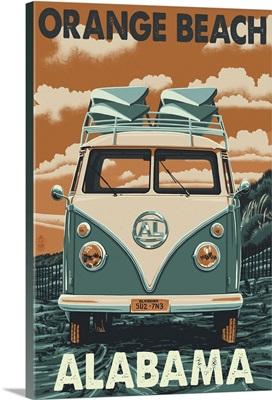 Orange Beach, Alabama - VW Van: Retro Travel Poster