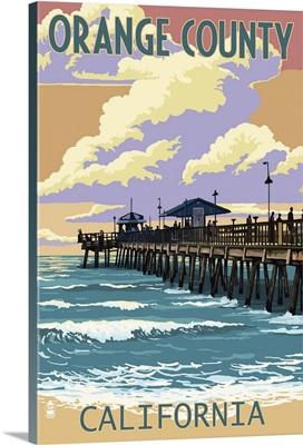 Orange County, California - Pier and Sunset: Retro Travel Poster