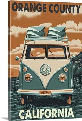 Orange County, California - VW Van : Retro Travel Poster
