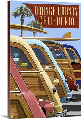 Orange County, California - Woodies Lined Up: Retro Travel Poster