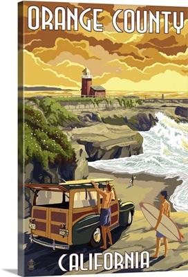 Orange County, California - Woody and Beach: Retro Travel Poster