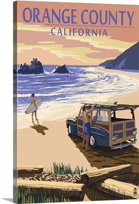 Orange County, California - Woody on Beach: Retro Travel Poster