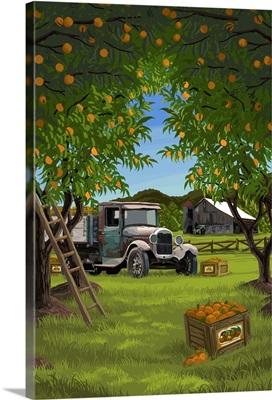 Orange Orchard Scene: Retro Travel Poster