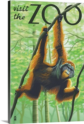 Orangutan - Visit the Zoo: Retro Travel Poster