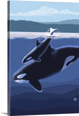 Orca and Calf (Hills): Retro Travel Poster