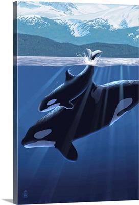 Orca and Calf (Mountains): Retro Poster Art