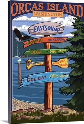 Orcas Island, WA - Destination Sign: Retro Travel Poster