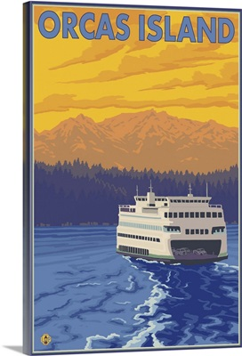 Orcas Island, WA - Ferry and Mountains: Retro Travel Poster