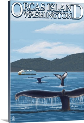 Orcas Island, WA - Whales and Ferry: Retro Travel Poster