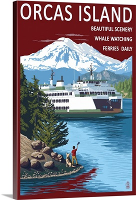 Orcas Island, Washington - Ferry Scene: Retro Travel Poster