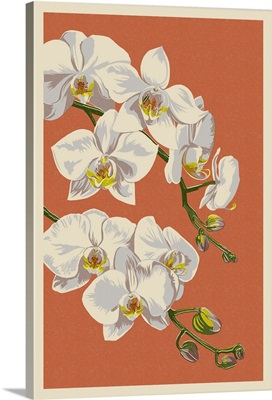 Orchid - Letterpress: Retro Art Poster
