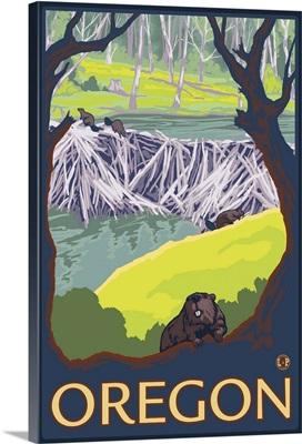 Oregon Beaver Family: Retro Travel Poster
