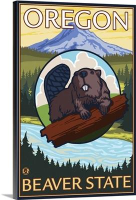 Oregon Beaver - Mount Hood: Retro Travel Poster