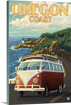 Oregon Coast - Cape Meares Lighthouse: Retro Travel Poster