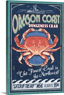 Oregon Coast - Dungeness Crab Vintage Sign: Retro Travel Poster