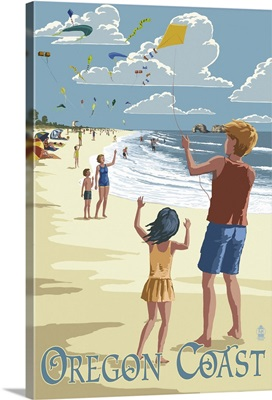 Oregon Coast - Kite Flyers: Retro Travel Poster