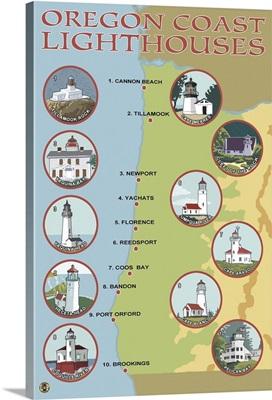 Oregon Coast Lighthouses: Retro Travel Poster