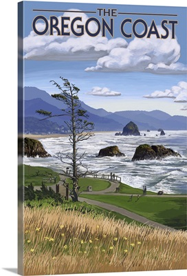 Oregon Coast Rocky Shore: Retro Travel Poster