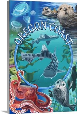 Oregon Coast - Sealife Animals: Retro Travel Poster