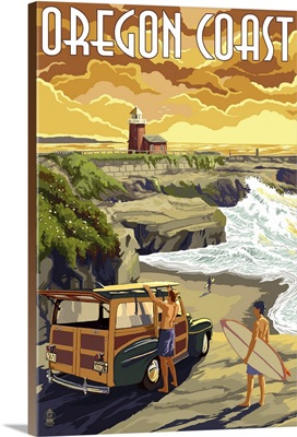 Oregon Coast - Woody and Lighthouse: Retro Travel Poster