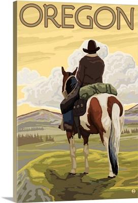 Oregon - Cowboy and Horse: Retro Travel Poster