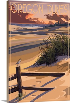 Oregon Dunes on the Oregon Coast: Retro Travel Poster