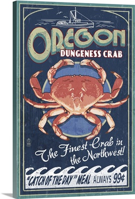 Oregon - Dungeness Crab Vintage Sign: Retro Travel Poster