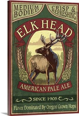 Oregon - Elk Head American Pale Ale Vintage Sign: Retro Travel Poster