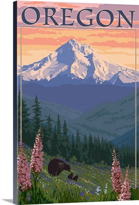 Oregon - Mt. Hood Bear Family and Spring Flowers: Retro Travel Poster