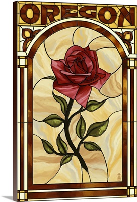 Oregon - Rose Stained Glass: Retro Travel Poster