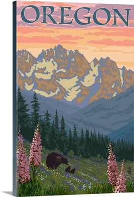 Oregon - Spring Flowers: Retro Travel Poster