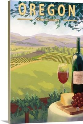 Oregon Wine Country: Retro Travel Poster