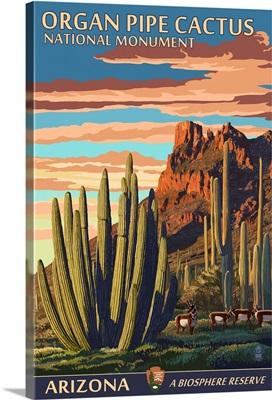 Organ Pipe Cactus National Monument, Arizona: Retro Travel Poster