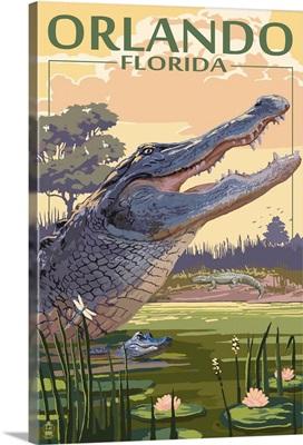 Orlando, Florida - Alligator Scene: Retro Travel Poster