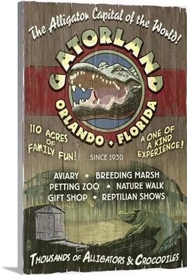 Orlando, Florida - Alligator Vintage Sign: Retro Travel Poster