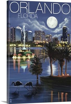 Orlando, Florida - Skyline at Night: Retro Travel Poster