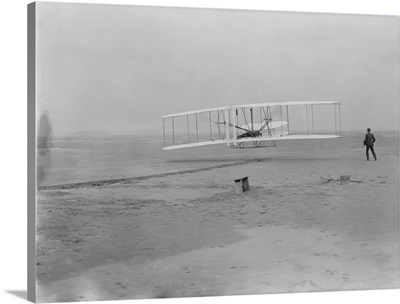 Orville Wright on First Flight at 120 feet, Kitty Hawk, NC