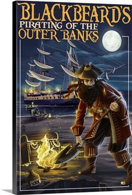 Outer Banks, North Carolina - Blackbeard Pirate: Retro Travel Poster