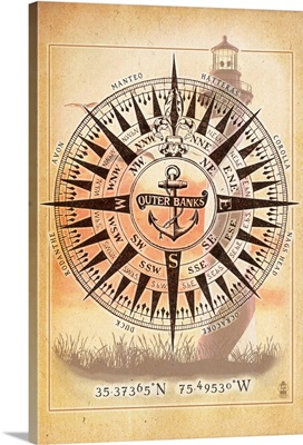 Outer Banks, North Carolina - Compass: Retro Travel Poster
